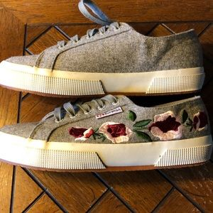 NWOB Superga gray floral embroidered sneakers 7.5